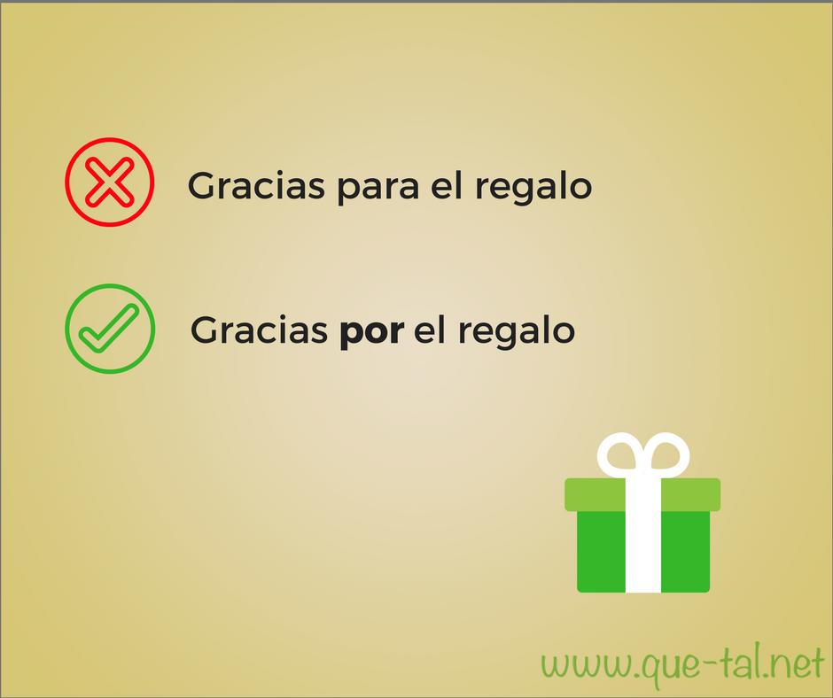 *Gracias para el regalo / Gracias por el regalo